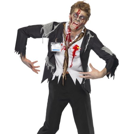 Smiffys Scary Zombie Office Worker Mens Halloween Costume - Scary Zombies Costumes