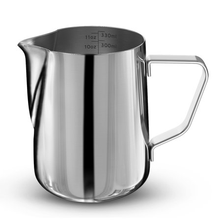 Stainless Steel Frothing Steaming Pitcher Garland Cup 350ml for Espresso Machine, Coffee Milk Frother and Latte Maker ()