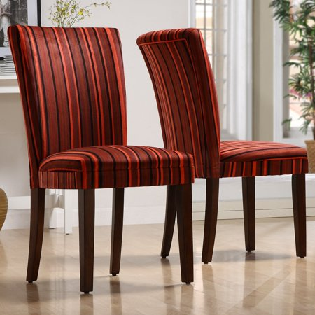 Homelegance Royal Red Striped Design Fabric Parson Chairs Brown Set Of 2