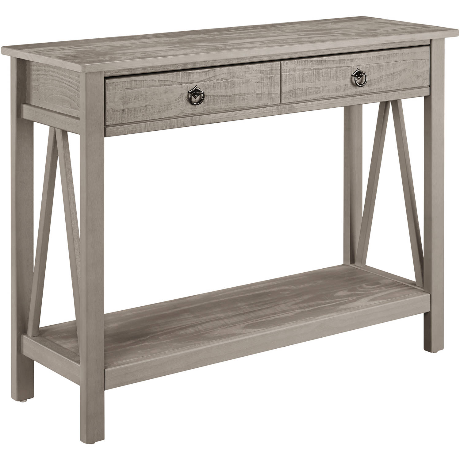High Quality Linon Titian Console Table, Rustic Gray, 2 Drawers   Walmart.com
