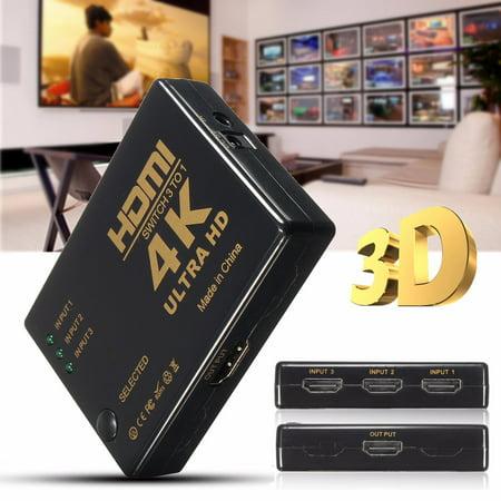 3 Ports U ltra HD 4K*2K H DMI Splitter Switch 3in 1out Amplifier Full HD 1080P TV Switcher Box Adapter for HDTV DVD Xbox 360 PC + Wireless (Pc Dvd Hdtv)