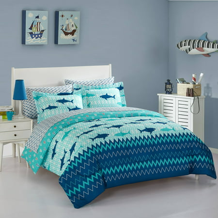 Under The Sea Kids Bedding - Heritage Club Kids Blue Sea Shark Twin Bed in a Bag Kids Bedding Set