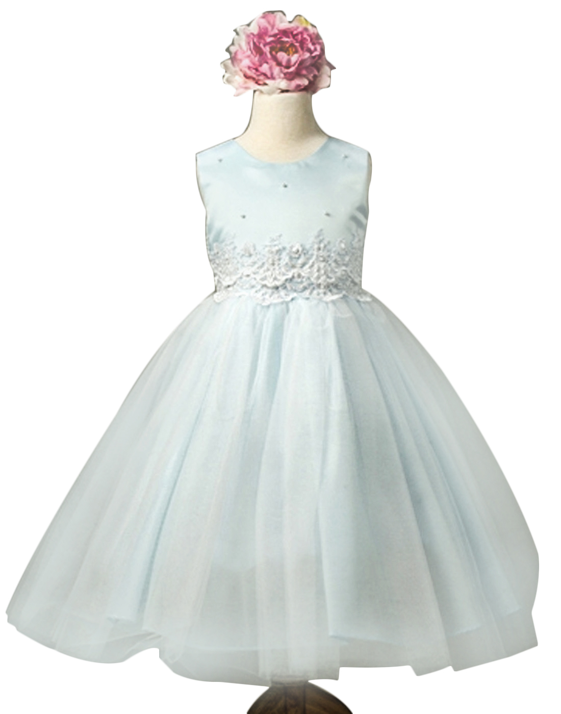 Efavormart Pearl and Lace Embellished Tulle Dress Birthday Girl Dress Junior Flower Girl Wedding Party Gown Girls Dress For Wedding