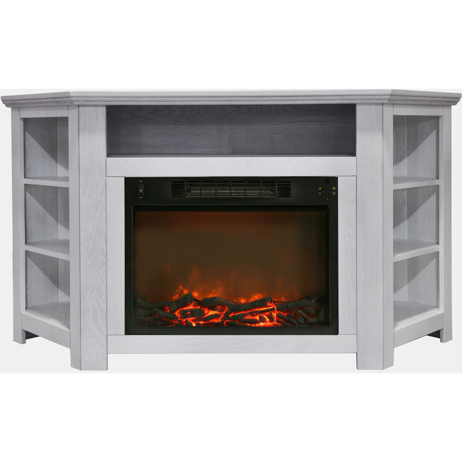 "Cambridge Stratford 56"" Electric Corner Fireplace Heater with Charred Log Display"