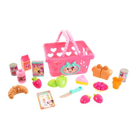 Minnie's Bow-Tique Bowtastic Shopping Basket Set Who's ready for a shopping adventure with Minnie Mouse? We are! Your little one won't want to hit the grocery store without her brand new Bowtastic Shopping Basket Set! It includes all of the things she will need to make her trip a success- including a grocery basket, play cans and container- even a Shopping list! Features lots of adorable Minnie-inspired play cutting food, including assorted fancy pastries and breads, fruit and a play knife to prep your goodies.
