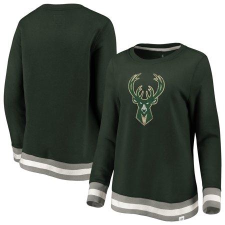 Milwaukee Bucks Fanatics Branded Women's True Classic Vintage Retro Stripe Fleece Crew Sweatshirt -