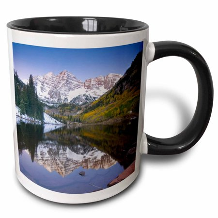 Bell Shape Mug (3dRose Colorado, Rocky Mountains, Aspen, Maroon Bells - US06 DSV0050 - David Svilar - Two Tone Black Mug, 11-ounce)