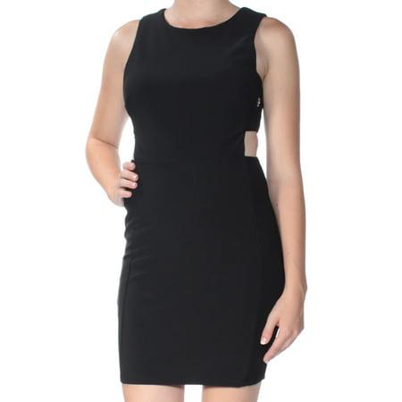 CITY STUDIO Womens Black Cut Out  Eyelet Sleeveless Jewel Neck Mini Body Con Dress Juniors  Size: