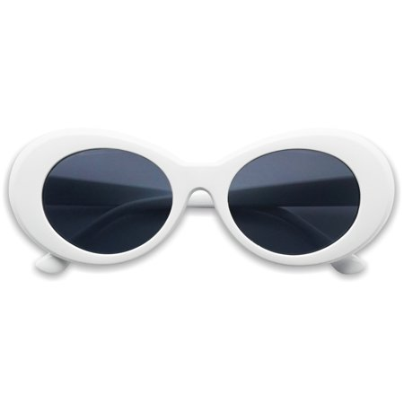 SunglassUP Oval Round Retro Kurt Cobain Clout Goggle Sunglasses - Coffin Glasses