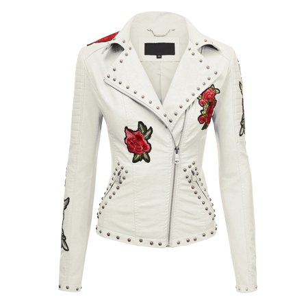 Embroidered Suede Leather Coat (Made By Johnny WJC1495 Womens Floral Embroidered Faux Leather Motorcycle Biker Jacket L)