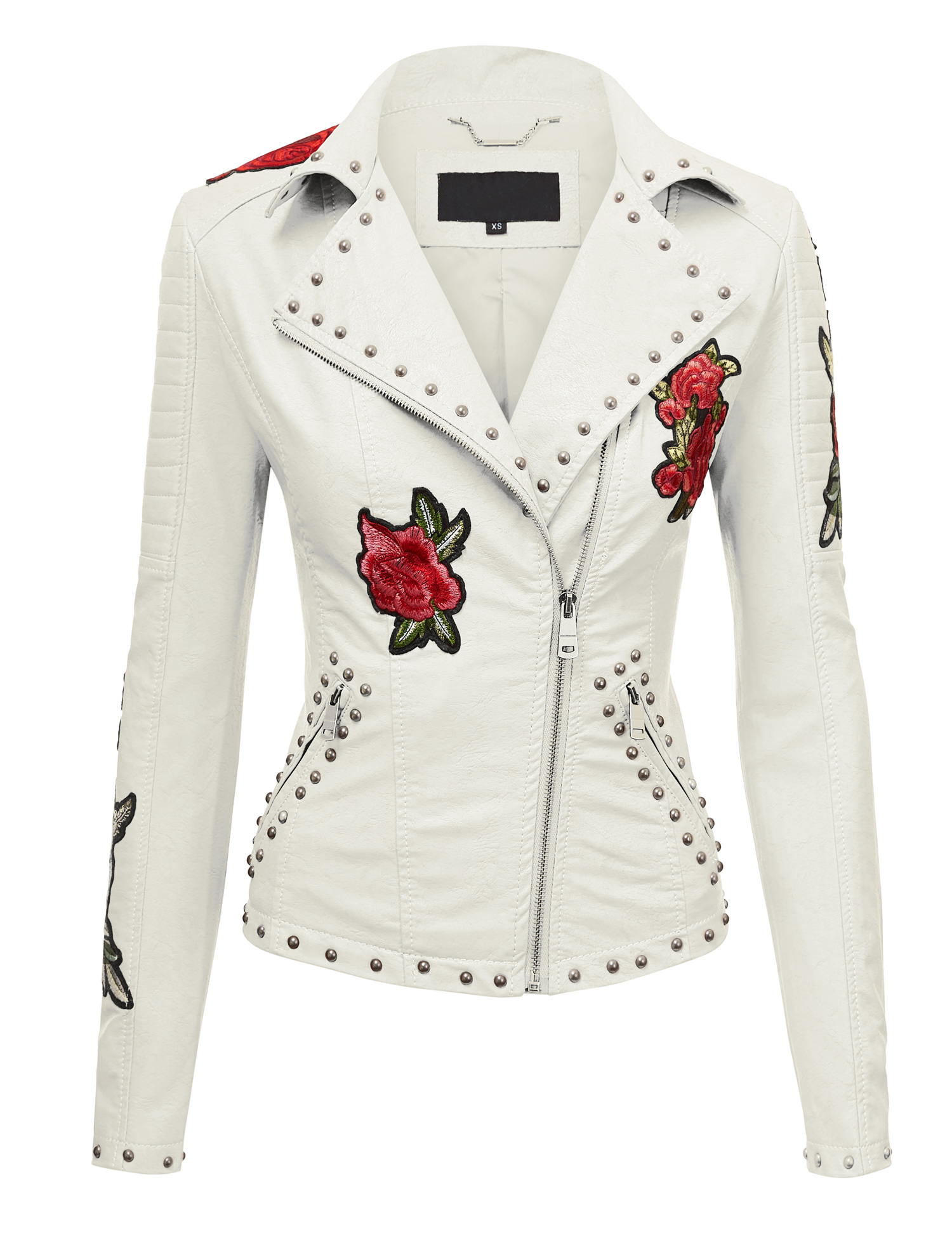 Made By Johnny WJC1495 Womens Floral Embroidered Faux Leather Motorcycle Biker Jacket L White