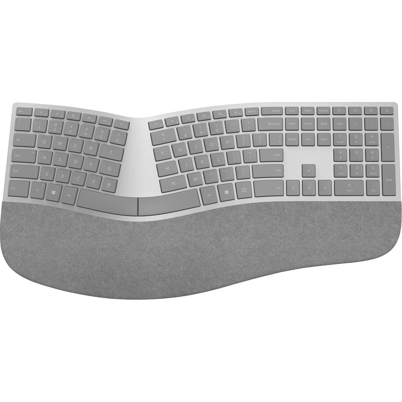 Microsoft Surface Ergonomic Keyboard - Wireless Connectivity - Bluetooth - Compatible with Notebook, Smartphone (Windows, Mac, Android, iOS) - QWERTY Keys Layout - Gray