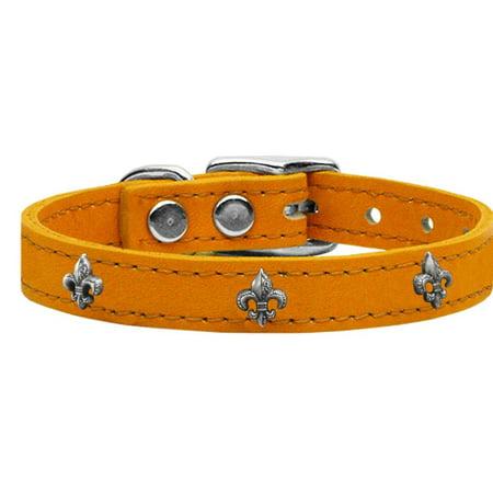 Silver Fleur De Lis Widget Genuine Leather Dog Collar Mandarin - Mandarin Collar Pattern
