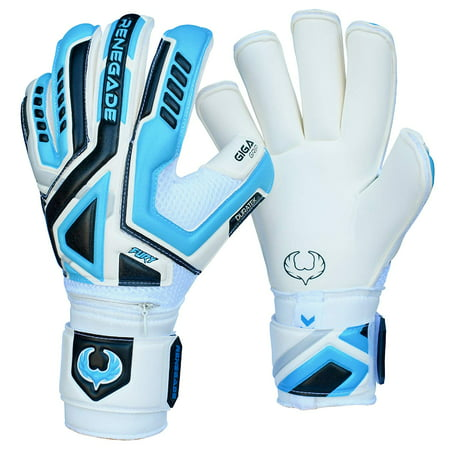 Renegade GK Fury Soccer Goalie Gloves with Removable Pro-Tek Fingersaves, Multiple Sizes - Kids Goalie Gloves