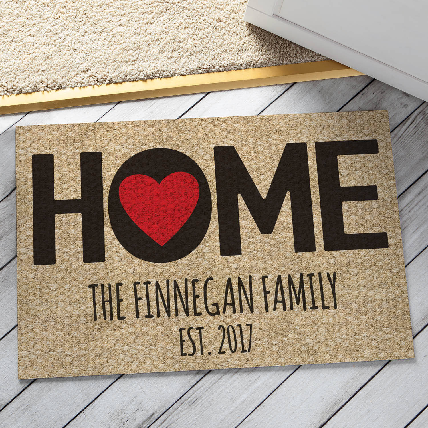 Home Is Where The Heart Is Personalized Entryway Doormat