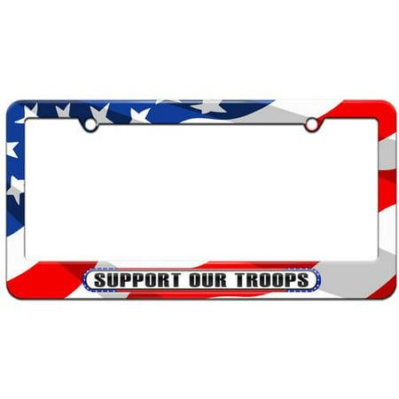 Support Our Troops License Plates (Support Our Troops, USA America Pride Flag License Plate Tag Frame, Multiple)