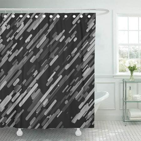 KSADK Abstract Geometrical Random Diagonal Stripe from Grey Rounded Stripes with Shadow Shower Curtain Bath Curtain 66x72 inch ()
