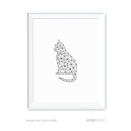 Cat Geometric Animal Origami Wall Art Black White Minimalist Print