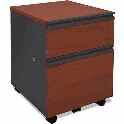 Bestar 2 Drawers Vertical Wood Composite Lockable Filing Cabinet, Red