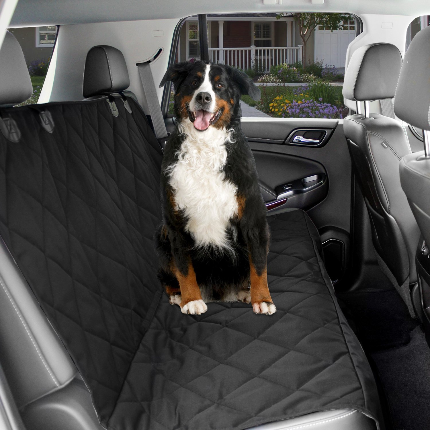 Dog Car Seat Cover Waterproof  Protector With Seat Anchors & Head Straps - Black
