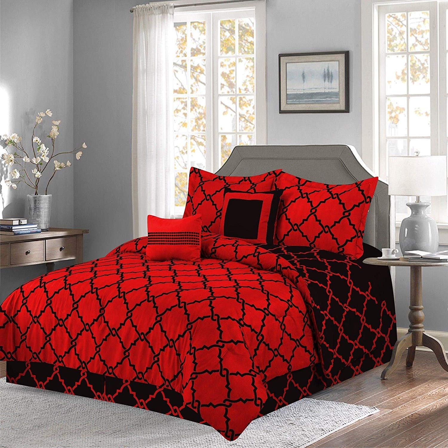 Annissa Collection Luxurious 10 Piece Red Geometric California King Size  Soft Comforter Set U0026 Bed
