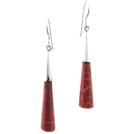 """Genuine Red Coral 925 Sterling Silver French Drop Earrings, 1 3/8"""""""