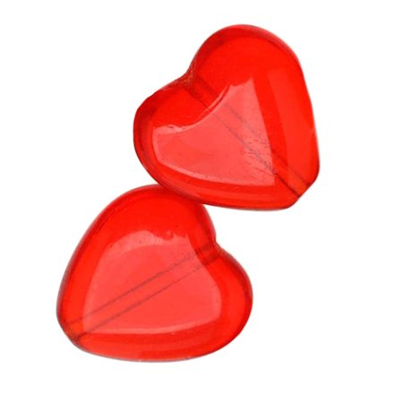 Czech Glass - Heart Shaped Beads 10x9.5mm 'Light Siam Ruby' (25) - Heart Shaped Lampwork Glass Beads