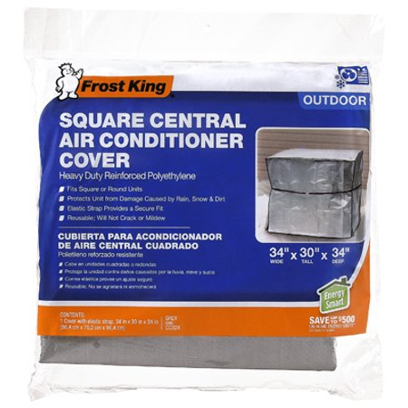 Thermwell Products 30'' X 34'' Central Air Conditioner Cover Keep a central A/C unit protected from the elements with Thermwell Air Conditioner Covers. Measuring 30  x 34 , they fit a range of square-shaped models and come in a pack of six. Durable and winterized polyethylene material withstands weather and forms a barrier against rain, dirt and other contaminants. It can be re-used year after year and won't crack or grow mildew. Elastic straps securely hold the covers in place. They're an essential addition to any set of air conditioner accessories.  Thermwell Products 30'' x 34'' Central Air Conditioner Cover: