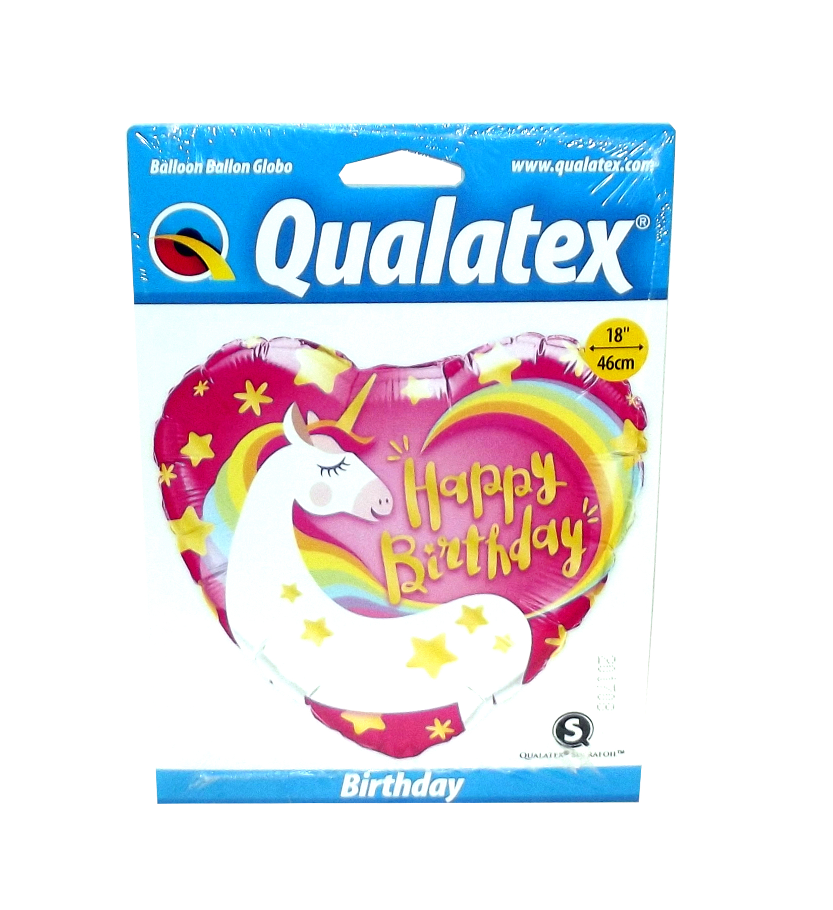 "Qualatex ""Happy Birthday"" Unicorn Heart-Shaped Foil Party Balloon, 18 inches"