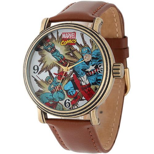 Marvel Captain America Men's Vintage Gold Antique Alloy Case Watch, Brown Leather Strap