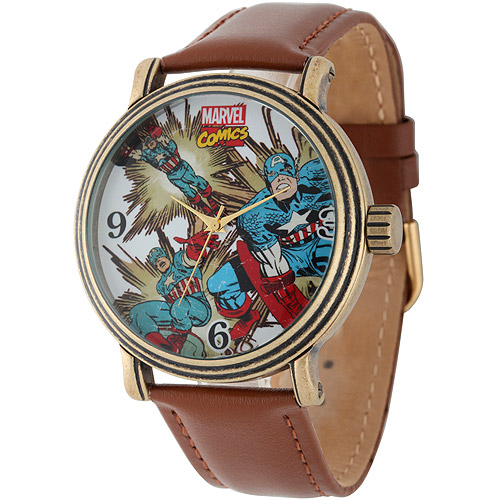 Marvel Captain America Men's Vintage Gold Antique Alloy Case Watch, Brown Leather Strap