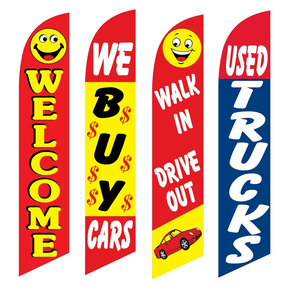 4 Advertising Swooper Flags Welcome We Buy Cars Walk In Drive Out Used Trucks