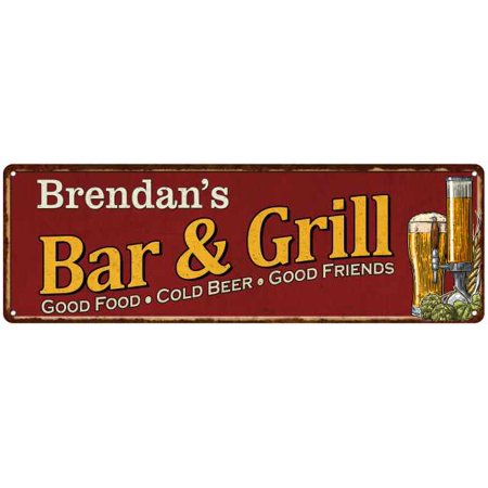 Brendan's Bar and Grill Red Personalized Man Cave Decor 8x24 Sign