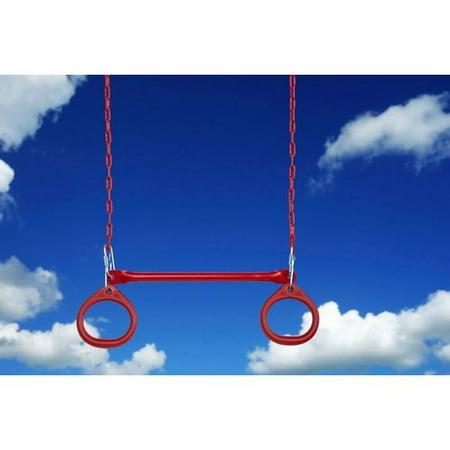 Creative Cedar Designs Trapeze Bar w/ Circular Rings- Red