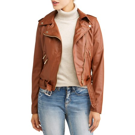 f041e425eff Yoki - Women s Sherpa Lined Faux Leather Moto Jacket - Walmart.com