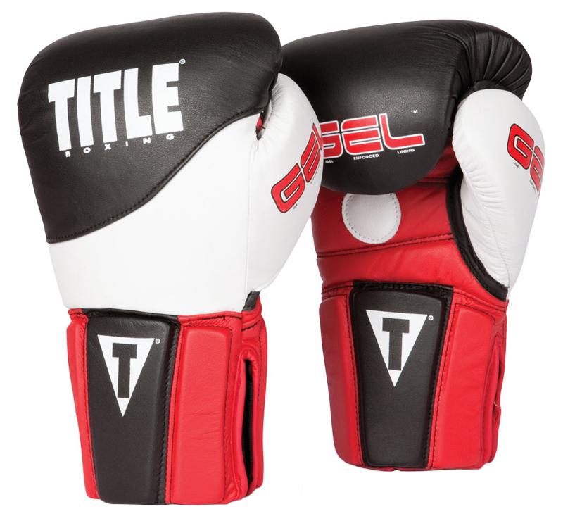 Title Boxing Gel Tri-Brid Training Gloves - Black/Red/White