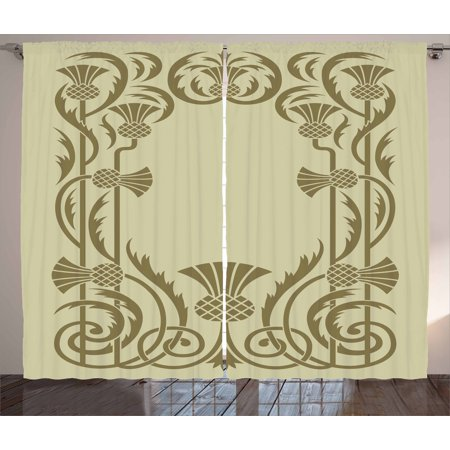 Antique Sage Finish - Art Nouveau Curtains 2 Panels Set, Botanical Framework with Pineapples Exotic Nature Inspired Antique Look, Window Drapes for Living Room Bedroom, 108W X 108L Inches, Sage Green Sepia, by Ambesonne