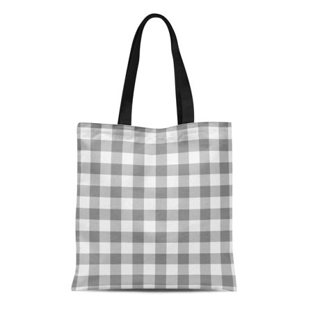 ASHLEIGH Canvas Tote Bag Plaid Gray and Gingham Check Pattern Checked Checkered Buffalo Reusable Handbag Shoulder Grocery Shopping (Check Canvas Tote)