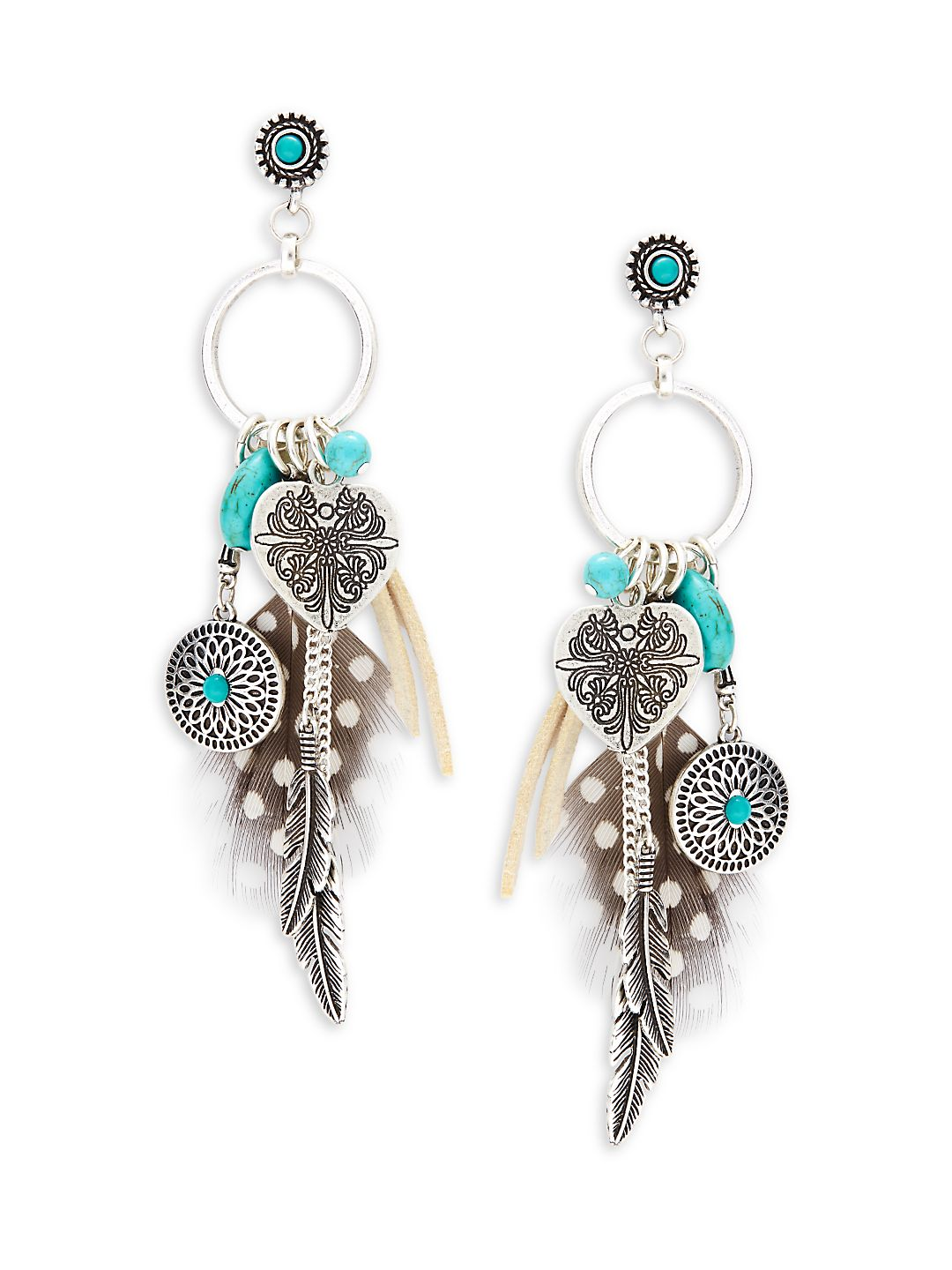 Charm-Embellished Drop Earrings