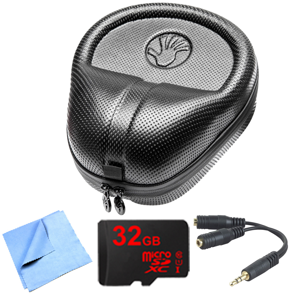 Slappa HardBody Pro Full Sized Headphone Case (Black) includes Bonus Gigastone 32GB MicroSD Memory Card and More
