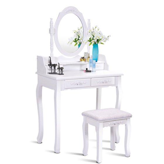 costway white vanity wood makeup dressing table stool set bathroom with mirror 4drawers. Black Bedroom Furniture Sets. Home Design Ideas