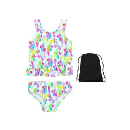 Kiko & Max Girls Parrot Tankini 2 Piece Swimsuit Sun Protection Swimwear with Bag 5