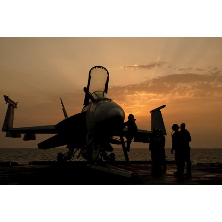 An F18c Hornet Aboard Uss George Hw Bush During Sunrise Canvas Art   Giovanni Collastocktrek Images  18 X 12