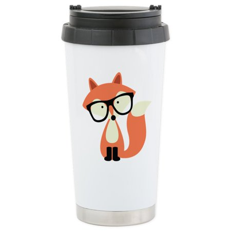 CafePress - Hipster Red Fox Stainless Steel Travel Mug - Stainless Steel Travel Mug, Insulated 16 oz. Coffee Tumbler