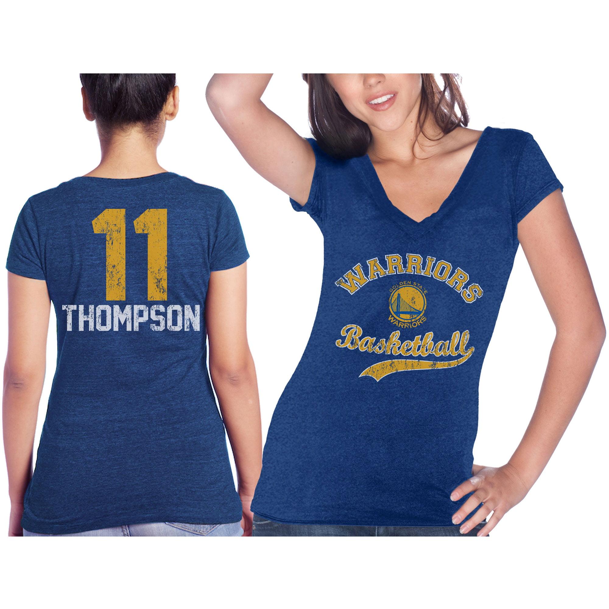 Klay Thompson Golden State Warriors Majestic Threads Women's Name & Number Tri-Blend V-Neck T-Shirt - Royal