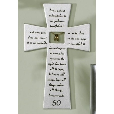 Roman Decor (Resin Stone 50th Wedding Anniversary Hanging Wall Cross Decor Gift Idea by)
