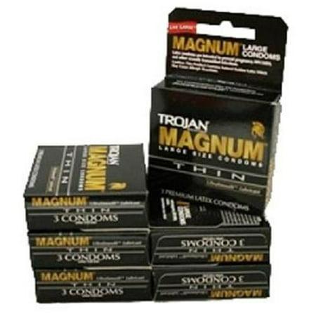 TROJAN MAGNUM THIN CONDOMS (Black) 3 pk Each ( 6 in a Pack )