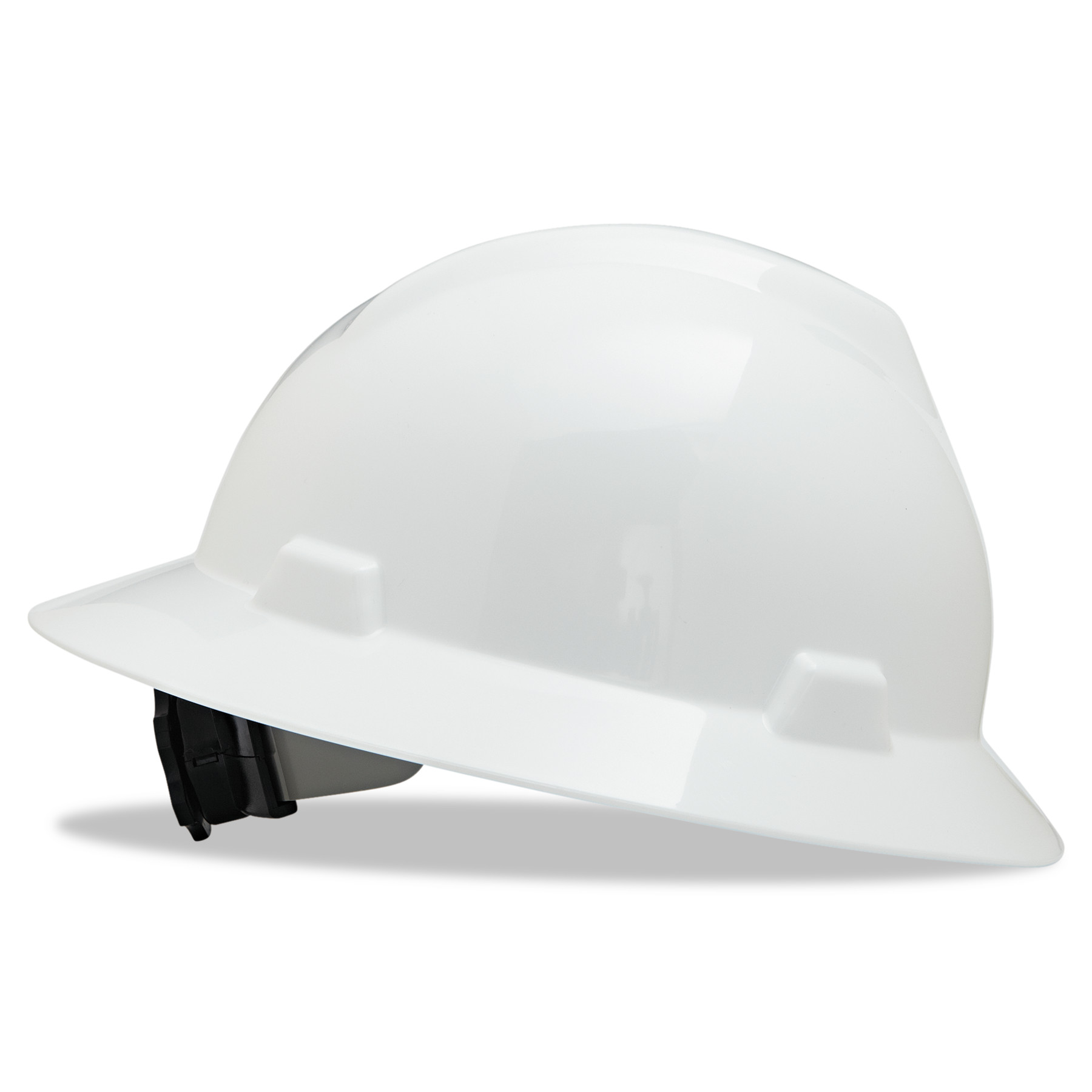 MSA V-Gard Full-Brim Hard Hats, Ratchet Suspension, Size 6 1 2 8, White by SAFETY WORKS