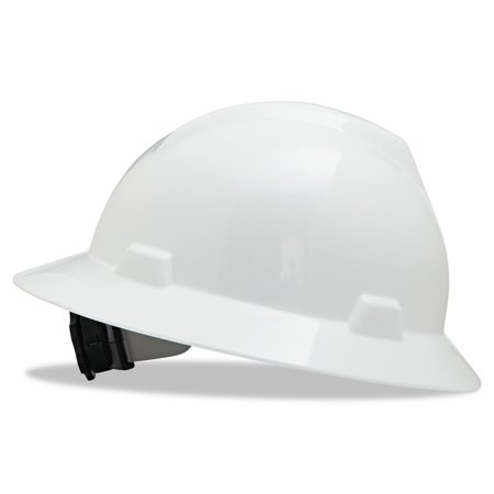 - MSA V-Gard Full-Brim Hard Hats, Ratchet Suspension, Size 6 1/2 - 8, White
