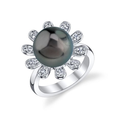 11mm Tahitian South Sea Cultured Pearl & Crystal Felicia Ring